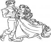 raiponce danse avec flynn rider dessin à colorier