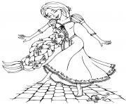raiponce danse pied nu avec ses 70 pieds de cheveux dessin à colorier
