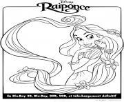 disney raiponce discute avec son animal pascal dessin à colorier
