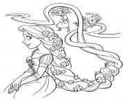 les petites filles jouent avec les longs cheveux de princesse raiponce disney dessin à colorier