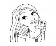 sourire de princesse disney raiponce et son camaleon pascal dessin à colorier