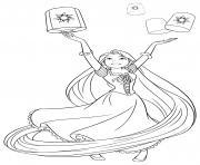 princesse lance les lanternes dans le ciel dessin à colorier