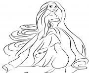 princesse se prepare pour le bal avec sa nouvelle coiffure dessin à colorier