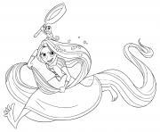 raiponce et pascal audacieux et pret pour une aventure dessin à colorier