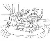 la princesse parle a flynn rider attache sur une chaise dessin à colorier