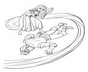 raiponce frappe accidentellement flynn rider et tombe a terre dessin à colorier
