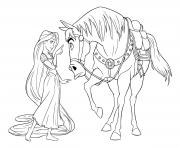 la princesse donne une lecon a maximus le cheval dessin à colorier