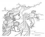 flynn ryder et raiponce arrive sur une ile en bateau disney dessin à colorier