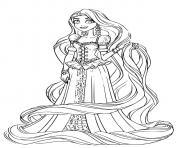 magnifique robe de princesse et raiponce avec de jolies bijoux dessin à colorier