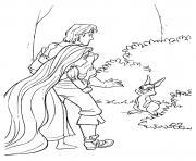 le prince et la princesse trouvent un lapin dessin à colorier