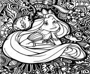 mandala disney princesse raiponce en reflexion dessin à colorier
