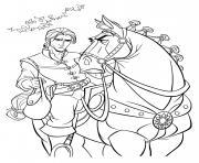 flynn rider et cheval maximus ne sont pas content dessin à colorier