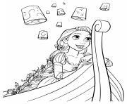 raiponce sur un bateau avec des lampes dans les airs dessin à colorier