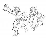 flynn rider et raiponce ensemble entrain de marcher avec une lanterne dessin à colorier