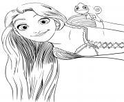 raiponce avec ses yeux verts et son cameleon pascal dessin à colorier