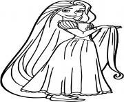 raiponce montre ses cheveux dessin à colorier