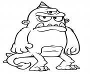 monstre effrayant avec trois yeux dessin à colorier