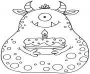 monstre rigolo avec son gateau anniversaire dessin à colorier
