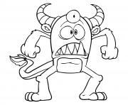 monstre avec trois yeux dessin à colorier