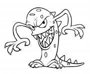 monstre alien prepare un mauvais coup dessin à colorier