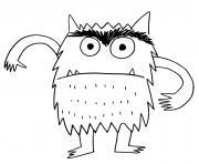 monstre effrayant et poilus dessin à colorier