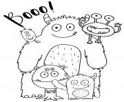 une famille de monstres dessin à colorier