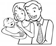 une petite famille avec un nouveau ne dessin à colorier