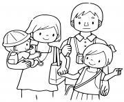 famille avec deux enfants dessin à colorier