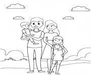 une belle famille en vacance dessin à colorier