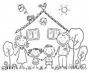 une famille avec un chat devant leur maison dessin à colorier