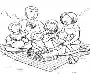famille de quatre enfants fait un picnic dessin à colorier