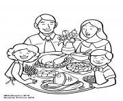 la famille a table pour le repas dessin à colorier