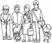 une grande famille avec les grands parents dessin à colorier