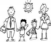 famille de quatre avec garcon et fille dessin à colorier