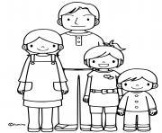 famille de quatre dessin à colorier