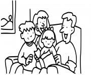 famille lecture avant le dodo dessin à colorier