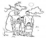 famille africaine avec trois enfants dessin à colorier