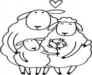 une famille de moutons dessin à colorier