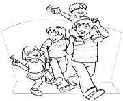 une famille qui passe un moment agreable dessin à colorier