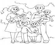 famille avec plusieurs enfants papa et mama dessin à colorier