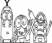 Three Minions dessin à colorier