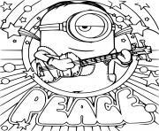 Stuart Minion Peace Card dessin à colorier