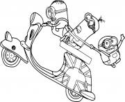 Minions on the Motorcycle dessin à colorier