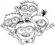 Four Minions dessin à colorier