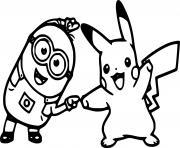 Minion and Pikachu dessin à colorier