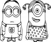 Dave and Stuart Minion dessin à colorier