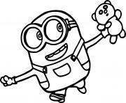 Minion Holds a Teddy Bear dessin à colorier