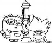 Minions and Rocket dessin à colorier