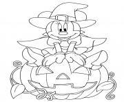 Coloriage minnie mouse sorciere volante avec chat et citrouille halloween dessin