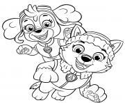 Stella et Everest des chiots joyeux dessin à colorier